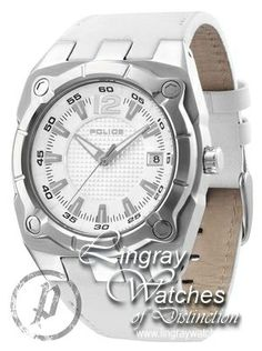 Police - Mens White Leather Strap Marshall Watch - 12696JS-01  RRP: £115.00 Online price: £69.00 You Save: £46.00 (40%)  www.lingraywatches.co.uk Police Watches, Marshall, White Leather, Omega Watch, Smart Watch, Online Price, Men, Accessories, Smartwatch