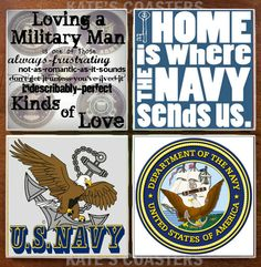 Set of 4 United States Navy military ceramic tile coasters by KatesCoasters, $10.00