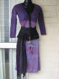 25OFF...Vintage Stunning Sheer Purple Lace TieDye  by GlamourZoya