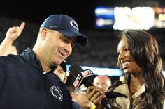 PENN STATE – FOOTBALL 2013 – Penn State vs Michigan on Homecoming, October 12, 2013. A HAPPY Coach Bill O'Brien talks to ESPN's Maria Taylor after game.