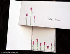 kartka na ślub, kwiatki, akwarele