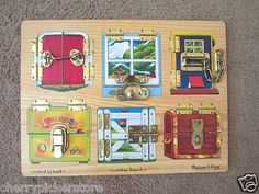 Melissa & Doug Latches Board Crafted by Hand Locks Windows