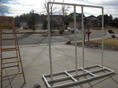PVC Pipe frame for photo wall - I need to use this as inspiration to make something for my canvases, frames, etc.