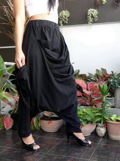 Black Unisex Harem pants, Ninja Pleated Trousers, in Cotton Jersey. #TribalFashion #CasualDropCrotchPantsEuroStyle