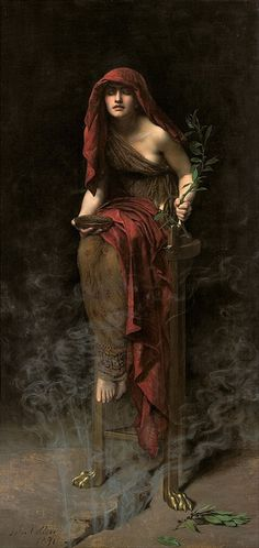 John Collier - The Priestess of Delphi [1891] Art Gallery of South Australia, Adelaide - Oil on Canvas, 16 x 8 cm