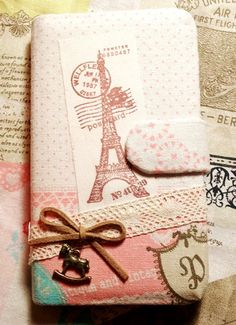 Diy Handmade Cloth Art Flip Cover Case EE. French Eiffel Tower (horizontal) for Samsung Galaxy S3 SIII S2 Note iPhone 4 4S HTC One X. $29.99, via Etsy.