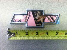 Chrome Chevy Bowtie embossed emblem hard plastic w/ self adhesive w pink camo