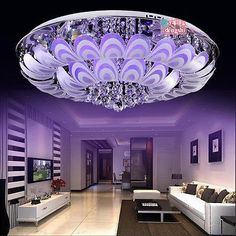 Warm romantic discolor bedroom LED crystal ceiling lights chandelier fixture