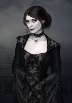 Shy vampire (Commission) by LenaBwolf on DeviantArt Female Vampire, Gothic Vampire, Vampire Art, Vampire Images, Fantasy Women, Dark Fantasy Art, Dark Art, Dark Beauty, Gothic Beauty
