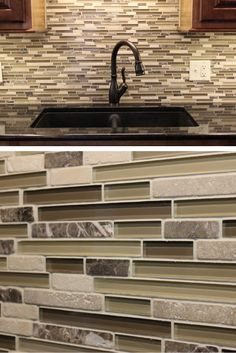 Horizontal Glass Tile Backsplash a glazzio #mosaic tile cascades down behind a #stainless steel