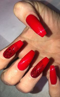 Sleek and Stylish ACRYLIC NAILS Design Ideas for You This Year 2019 Part acrylic nails designs; acrylic nails almond 45 Hottest Red Long Acrylic Coffin Nails Designs Of 2019 - Page 17 of 45 Simple Acrylic Nails, Almond Acrylic Nails, Almond Nails, Red Nail Designs, Acrylic Nail Designs, New Year's Nails, Gel Nails, Coffin Nails, Red Manicure