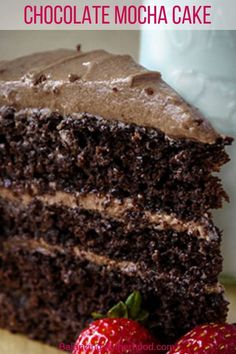 10 Most Misleading Foods That We Imagined Were Being Nutritious! This Delicious And Moist Chocolate Cake Has An Amazing Chocolate Mocha Frosting That Is To Die For It's An Easy Layer Cake That Will Impress Your Friends Chocolate Cake With Coffee, Mocha Chocolate, Dark Chocolate Cakes, Chocolate Desserts, Easy Cake Recipes, Easy Desserts, Sweet Recipes, Delicious Desserts, Dessert Recipes