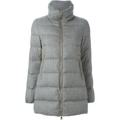 Moncler 'Torcy' padded coat ($1,460) ❤ liked on Polyvore featuring outerwear, coats, grey, funnel neck coat, gray coat, long sleeve coat, feather coat and padded coat