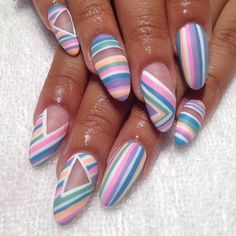 Pastels and stripes by @Hey, Nice Nails! on Instagram, pinned via the InstaPin iOS App!