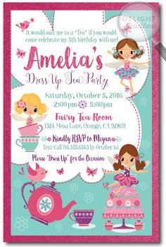 Dress Up Fairy Tea Party Birthday Invitations [DI-687] : Custom Invitations and Announcements for all Occasions, by Delight Invite