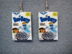 Boo Berry Cereal Retro Kitsch Dangle Polymer Clay Junk Food Earrings Hypo Allergenic Nickle-Free on Etsy, $15.00
