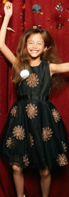 SALE !!! Girls Derhy Black Satin Dress. The perfect New Years Eve Party Dress! Made with embroidered gold flowers and layers of voluminous tulle. The perfect choice for special occasions. Perfect for Pretty Little Girls, Tween & Teens. Fall Winter 2017 Kids Clothing Now on Sale! #kidsfashion #fashionkids #girlsdresses #childrensclothing #girlsclothes #girlsclothing #girlsfashion #cute #girl #kids #fashion