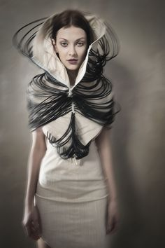 Sculptural Fashion - dress design with draped cord & oversized collar; artistic fashion // Magdalena Arlukiewicz