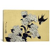 Found it at Wayfair - Ando Hiroshige 'Hydrangea and Swallow' by Katsushika Hokusai Graphic Art on Canvas