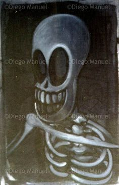 """calavera que rie "", acrylic on canvas, 100 x 70 cm. , 1998. . By Diego Manuel"