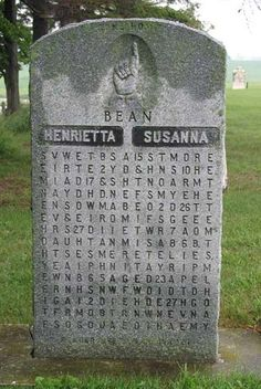 Puzzel Stone: Entertainment at the Gloomy Manse: The Puzzle Tombstone which marks the graves of Henrietta and Susanna Bean in Rushes Cemetery, near Crosshill, Wellesley Township, Ontario. Interesting history of the puzzle. Cemetery Monuments, Cemetery Statues, Cemetery Headstones, Old Cemeteries, Cemetery Art, Graveyards, Unusual Headstones, Grunge, After Life