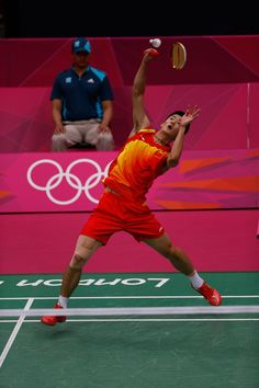 Chen Long of China competes in the Men's Singles Badminton Semifinal against Lee Chong Wei of Malaysia at Wembley Arena.