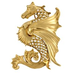 Lipten Gold Diamond Medieval Dragon Brooch