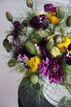 poppy,ranunculus,nigella,tulip and sweet pea