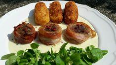 Baconbe tekert szűzpecsenye, rózsaborsos sajtmártással Baked Potato, Bacon, Pork, Potatoes, Dinner, Ethnic Recipes, Kale Stir Fry, Dining, Potato