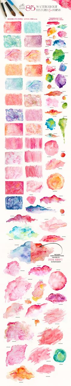 We don't all have the time or energy to whip up watercolour splotches and splashes when its just what our project needs…so here in a handy pack of over 80 items, you should find what you