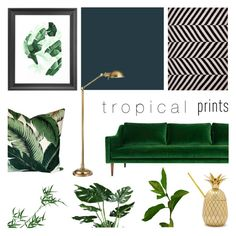 """""""Tropical Prints Decor '16"""" by rachaelselina ❤ liked on Polyvore featuring interior, interiors, interior design, home, home decor, interior decorating, ModShop, Jaipur, Hudson and W&P Design"""