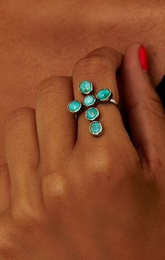 beautiful turquoise cross ring