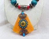 collar bohemio, cuentas de hueso, collar de la declaración, collar de abalorios, collar étnico, collar Graduado, tribal, de perlas, joyas, amarillo