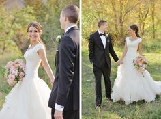 modest wedding dress with lace sleeves from alta moda. ball gown wedding dress.      ---        photo by rebekah westover