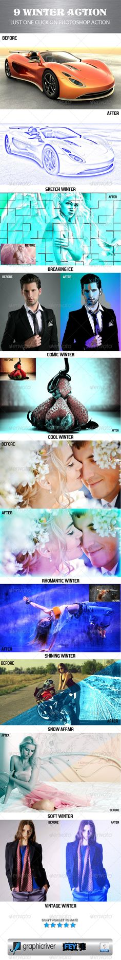 9 Winter Action  #GraphicRiver         9 Winter Action   9 Various Action 9 winter effects result.   Guide for using 9 Winter Action:   - Open 9 ATN files 9 Winter Action   - Open your image for recommended image must be JPG and RGB color   for fully working the Action Result   - Click On Action what you need   - Finally finish…   If you like don't forget to rate and thank you      Created: 10September13 Add-onFilesIncluded: PhotoshopATN MinimumAdobeCSVersion: CS Tags: action #atn…