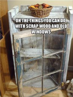 Create a display cabinet using an old window and salvaged wood. Recycle, Upcycle, RePurpose! For ideas and goods shop at Estate ReSale & ReDesign, LLC in Bonita Springs, FL