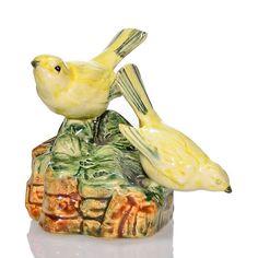 """Weller Brighton Goldfinch flower frog, 3 7/8"""""""