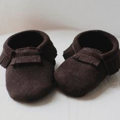 Chocolate Brown Suede Baby Moccasin // Little Tonto