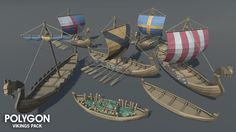 A low poly asset pack of characters, buildings, props, items and environment assets  to create a fantasy based polygonal style game.  Modular sections are easy to piece together in a variety of combinations.  Includes a demo scene (Character poses indicative only)  221 unique assets with x4 alternative texture colours. - Customizable Viking Boat - Fishing Boat - Modular Buildings - Mountains x3 - Table - Seat - Fish Pile - Modular Beach sections - Dirt mounds - Glacier Ice Chunks x4…