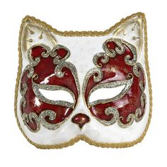 Cat Mask Red And White, $74, now featured on Fab.