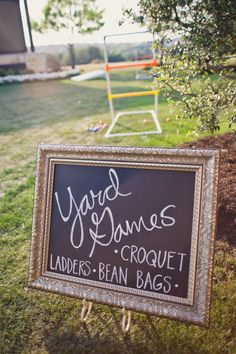 Bring your party to the backyard! After sampling, play some yard games -- we're loving this adorable DIY chalkboard sign!