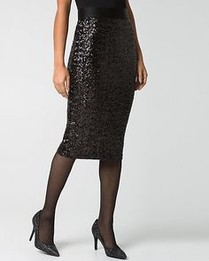 Allover sequins lend a stunning finish to a classic midi skirt designed with a fitted body for an amazing, statement-making piece.