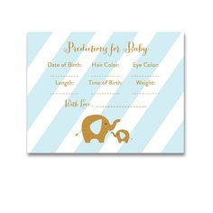 Baby Shower Blue Gold Glitter Elephant - Activity Predictions for Baby - Instant Download Printable