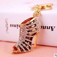 Assorted Novelty Crystal High Heel Keychain Rhinestone Shoes 689731788310