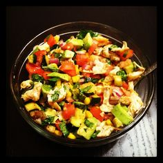 Mexican Chicken Salad: Chicken, Avocado, Corn, Zucchini, Red Onion, Tomato, And Cilantro Then Dressed With Lime Juice, Salt, Pepper, And Chili Powder