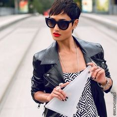Micah Gianelli, Black Suits, Cat Eye Sunglasses, Pixie, Couture, Hair, Models, Collection, Style