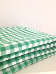 retro bright green and white gingham cotton fabric by rosyrandom, $8.50