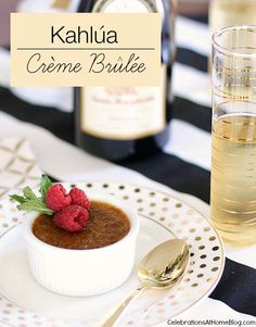 Kahlua Creme Brulee - Celebrations at Home - - This Kahlua Creme Brulee recipe is elegant enough for a special dinner party or celebration. It's so easy to prepare and is an impressive make-ahead dessert for entertaining. Mini Desserts, Make Ahead Desserts, Great Desserts, Dessert Recipes, Plated Desserts, Coffee Creme Brulee, Cream Brulee, Gourmet Recipes, Sweet Recipes