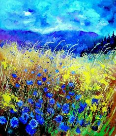Blue Cornflowers 67 Painting  - Blue Cornflowers 67 Fine Art Print