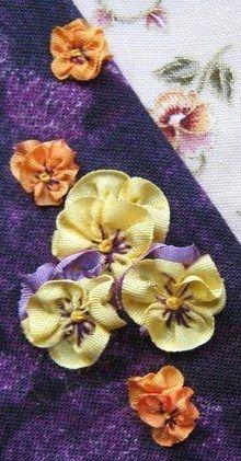 How to make ribbonwork pansies | Needlework News | CraftGossip.com